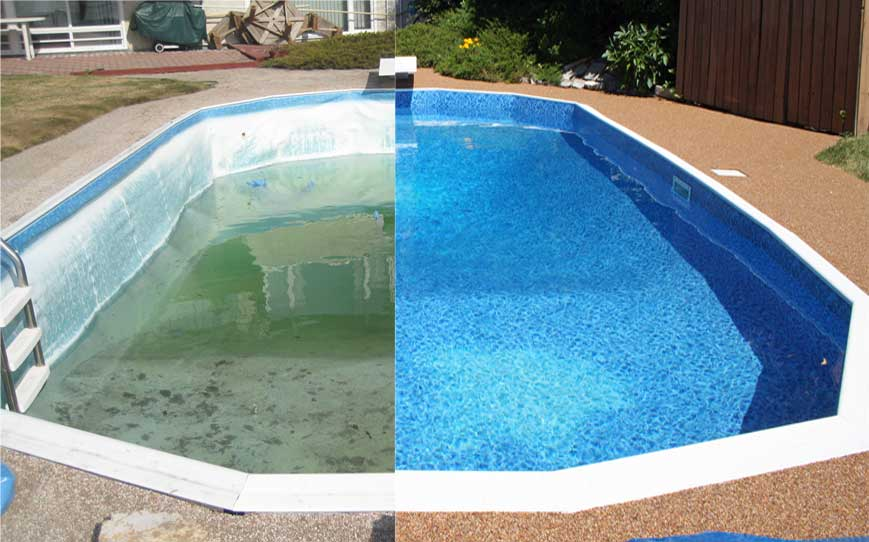 Liners rainbow pools for Pool liner installation